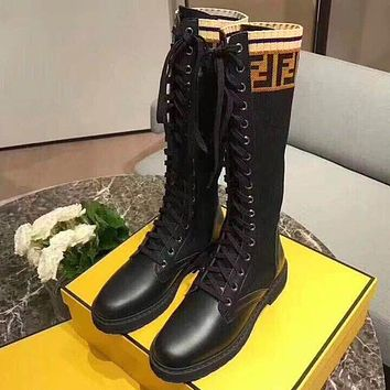 FENDI Women Fashion Leather Low Heels Tube in Boots Shoes