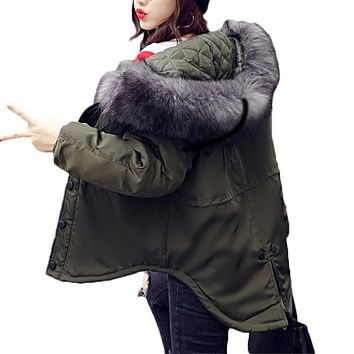 Oversized Coats Fur Collar Winter Coat Women Short Military Jacket Cotton Parkas Outwear Hooded Jacket Women Abrigos Mujer C3582