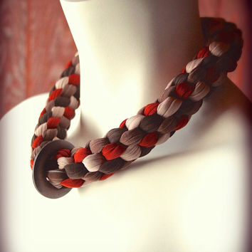 braided jersey necklace - wood ring pendant encircles woven choker made from red orange and brown fabric - ready made by Needless Studio