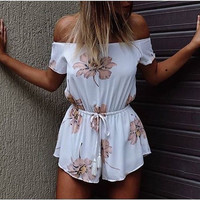White Cold Shoulder Floral Tie Waist Romper Playsuit