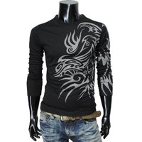 TheLees Mens Long Sleeve Coolmesh fabric Tatto Printing Sport Tshirts
