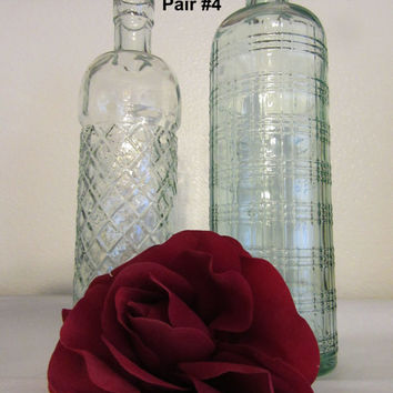Unique Vintage Green Glass Decorative Bottles - Beautiful Home Decor-Candlestick Holder-Awesome Gift Idea-Green Glass Collectible-Set of 2