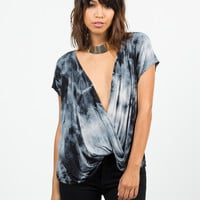 Twist Front Tie-Dye Top