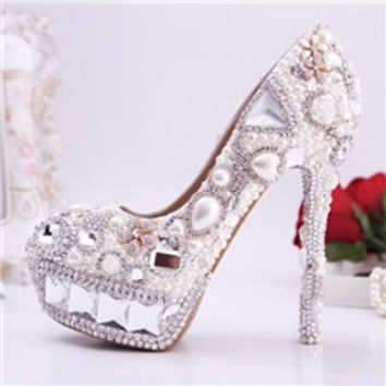 Pearl Rhinestone Closed Toe Stiletto Heel Posible Wedding Shoes