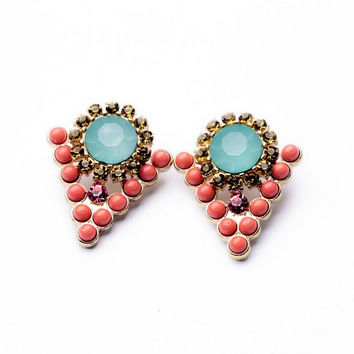 Coral and Aqua Studs Earrings