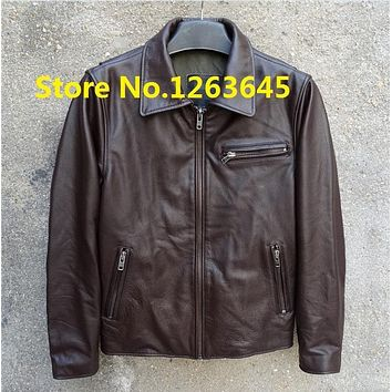 Super Deal Brown Cheap Genuine Leather Jacket Men Natural Cowskin Leather Coat Pockets Factory Price High Quality Free Shipping