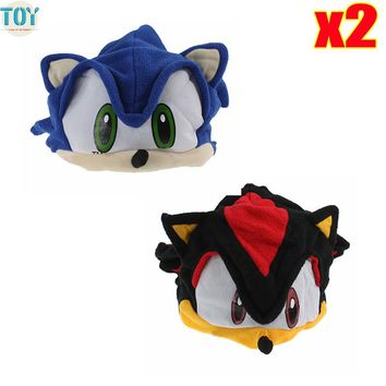 OHMETOY 2PCS SONIC THE HEDGEHOG Hat SHADOW GORRO Plush COSPLAY Cap Anime Costumes Chapeau for Adults Teenagers Black Blue