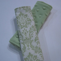 Green Damask Minky Reversible Car Seat Strap Covers