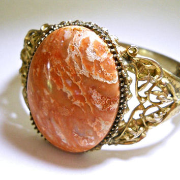 WHITING & DAVIS Peach Agate Bracelet, Hinged, Art Nouveau Scroll Filigree, Vintage