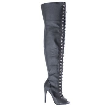 Shallow Black Pu By Dollhouse, Thigh High Peep Toe Corset Elastic Lace Stiletto High Heel Boots