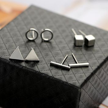 docona Trendy 4pair/Set Geometric Triangle Round Square T Bar Stud Earring for Women Fashion Silver Gold Black Alloy Earrings
