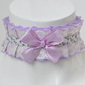 Lolita choker - Provence flower - pleated pastel kawaii choker with bow and lace - kittenplay kitten pet play ddlg collar cosplay costume