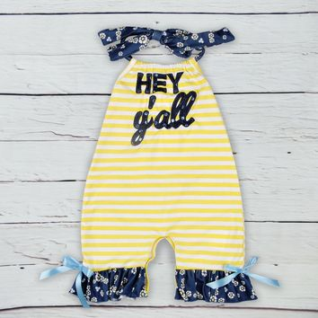 Hey Y'All Yellow Stripes Infant Baby Romper Jumpsuit