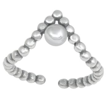 .925 Sterling Silver Chevron V Large Bead Bali Ladies Ring Midi Adjustable Size Toe and Knuckle