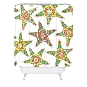 Sharon Turner starfish flowers off white Shower Curtain