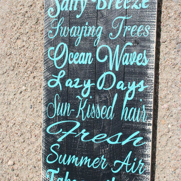 Wood Beach Sign Beach House Sign Wood Pallet Beach Sign Salty Breeze Ocean Waves Wood Pallet Sign Turquoise