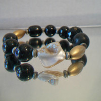 Vintage Black Beaded Bracelet Blister Pearl Jewelry Baubles Fashion Accessories For Her