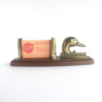 Vintage Ducks Unlimited Brass and Wood Business Card Holder