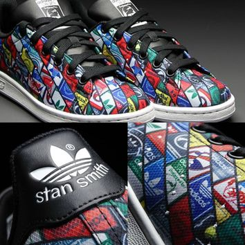 "Adidas Stan Smith ""MultiColor Puzzle/Core Black""-S77683"