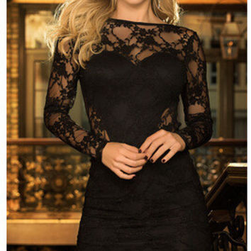 Sexy Deep V Backless Lace Long Sleeve One Piece Dress [6339008577]