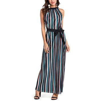Women Summer Beach Boho Dress Off shoulder Striped Maxi Long Loose Dress Casual Ladies Sexy Vintage Print Sashes Party Dress