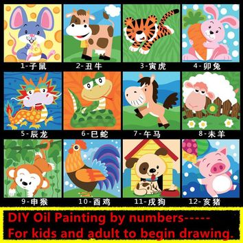 Handpainted Wall Art Kids Digital Canvas Paintings Children DIY Cartoon Chinese Zodiac Oil Painting By Numbers Framed Pictures