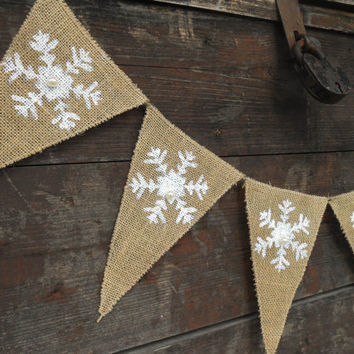 Snowflakes Banner Holiday Decor Snowflakes Garland Christmas Decor Christmas Banner Christmas Garland Holiday Banner