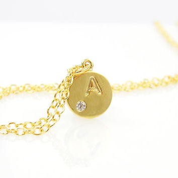 Small Gold Initial Necklace - Personalized Gold Letter Charm Pendant Jewelry with 18 inch Chain