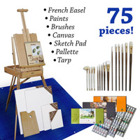 80-Piece French Easel Painting Art Set, Acrylic Oil Watercolor Kit