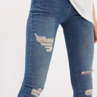 MOTO Blue Super Ripped Leigh Jeans