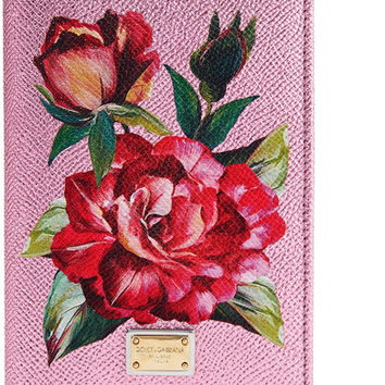 Dolce & Gabbana - Floral-print metallic textured-leather passport cover