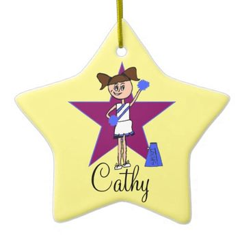 Personalized Cheerleader blue and Fuscia ornament