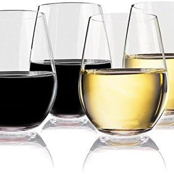 Vivocci Unbreakable Elegant Plastic Stemless Wine Glasses 20 oz | 100 Tritan Heavy Base | Shatterproof Glassware | Ideal For Cocktails amp Scotch | Perfect For Homes amp Bars | Dishwasher Safe | Set of 2