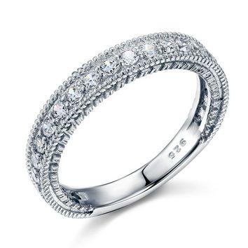 Vintage Style Art Deco Simulated Diamond Sterling 925 Silver Band Wedding Eternity Ring