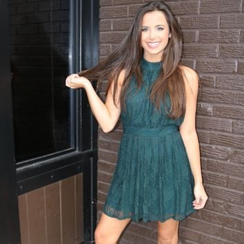 Dream Of Lace Dress In Emerald Green