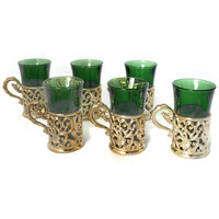 Vintage Italian Espresso Coffee Cups Set of 6, Glass and Metal CRISTALLERIE ARTISTICHE Decorate Jade Green