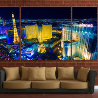 Framed Huge 3 Panel Las Vegas City Skyline Giclee Canvas Print Ready to Hang