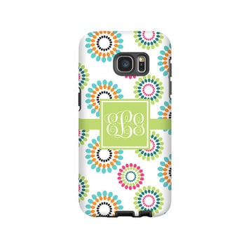 Geometric floral Galaxy S7 Edge case/ S7 case, monogram Galaxy S6 Edge Case,  Galaxy S6 Plus case, S5 case, 3D Samsung Galaxy cases