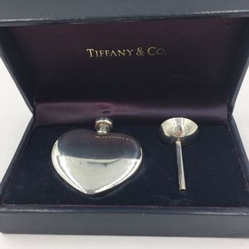Vintage Tiffany & Co Heart Perfume Bottle with Funnel and box Sterling Silver