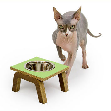 Single Bowl Diner // Mid Century Modern Elevated Pet Feeder // Six Retro Colors // Cat & Dog Dishes