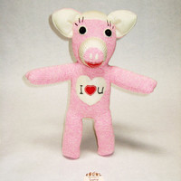 Stuffed pig toy Sophie the Piggy Rockford Red Heel  pink sock monkey plushie Valentine's gift baby shower gift toys for girls