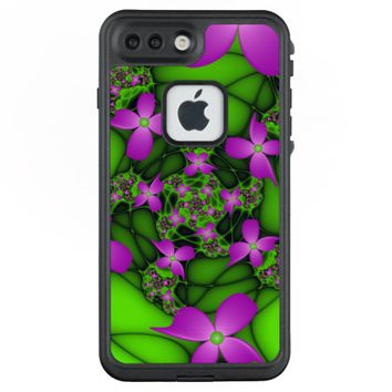 Modern Abstract Neon Pink Green Fractal Flowers LifeProof® FRĒ® iPhone 7 Plus Case