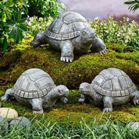 Garden Turtle Family Stone Look Ornament Statue Yard Lawn Porch Patio Decor NEW