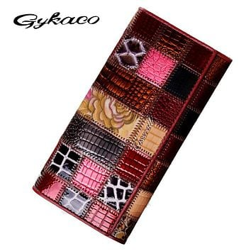 Cossroll New Lady Genuine Leather Wallet Women Large Capacity Patchwork Long Wallets Ladies Vintage Card Holder Female Purses