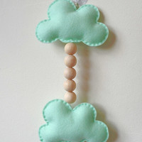 Felt Cloud and wooden beads hanging, Hanging Wall Decor, Wall decoration, Mint Clouds, Wall Accessory, Home Decor