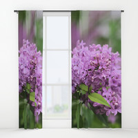 Lilac Bouquets Window Curtains by Theresa Campbell D'August Art