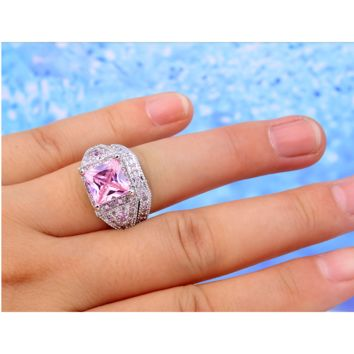 White Gold Plated Pink Princess Cut Rhodium Plated Ring