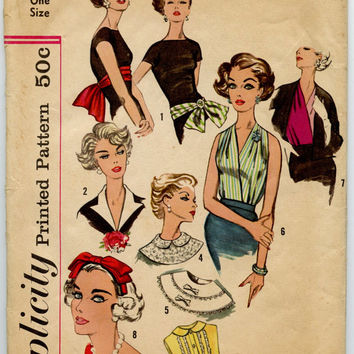 1950s Vintage Sewing Pattern Simplicity 2779 Neckwear, Headband, Dickey and Sash-Belt Accessory Pattern