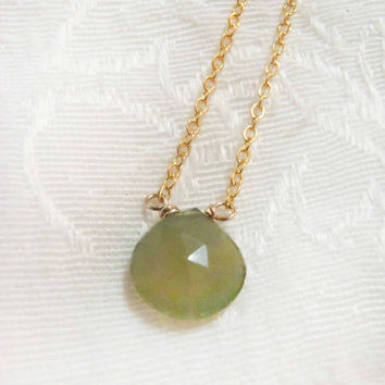 Green Chalcedony Faceted Briolette necklace - Sterling Silver or Gold Filled Chain with semi-precious gemstone - dainty, natural gem