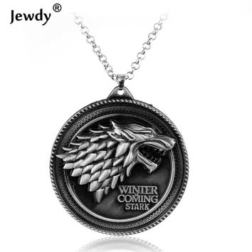 Movie Game of Thrones Vintage Jewelry House Stark wolf pendant necklace Bronze Pendants Silver Choker collier best friends gift